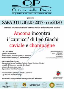 Evento 1 Luglio i 'capricci' di Leo Giachi - caviale e champagne